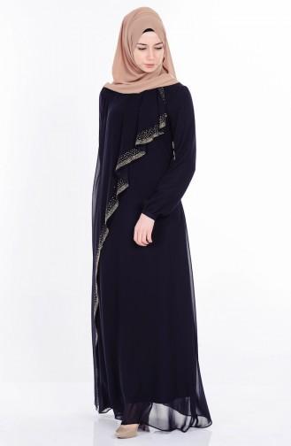 Taş Baskılı Şifon Elbise 99004-02 Siyah Sefamerve