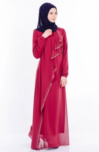 Taş Baskılı Şifon Elbise 99004-03 Vişne Sefamerve