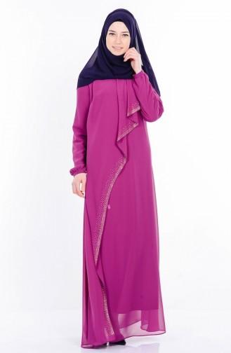 Taş Baskılı Şifon Elbise 99004-04 Mürdüm Sefamerve