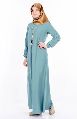 Kolyeli Elbise 4073-01 Çağla Yeşil Sefamerve