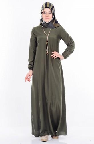 Kolyeli Elbise 4073-07 Haki Yeşil