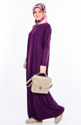 Plain Abaya  17981-03 Purple 17981-03