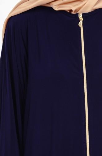 Abaya a Fermeture 17721-06 Bleu Marine 17721-06