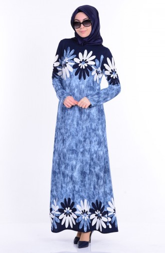 Eteği Sulu Elbise 2052-02 Lacivert Sefamerve