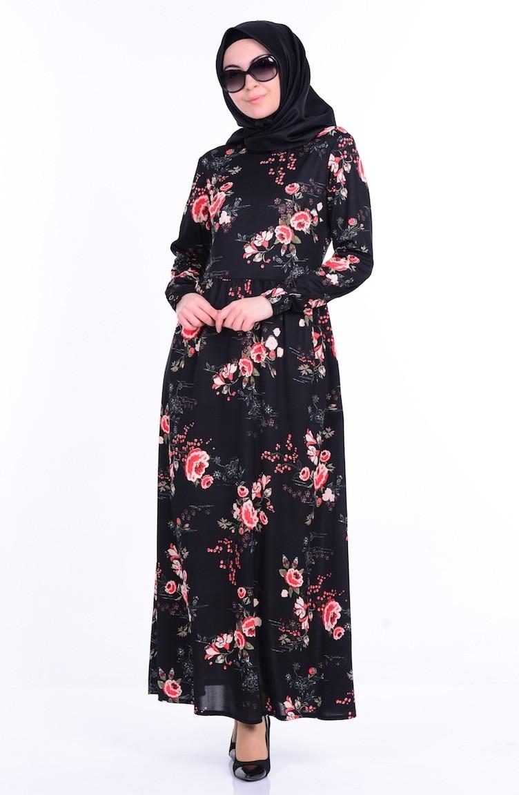 0666bcbd2a5f7 Çiçekli Elbise 5836-01 Siyah