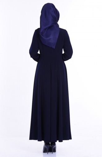 Abaya İmprimée 1049-02 Bleu Marine 1049-02
