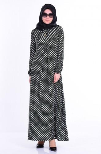 Bağcık Detaylı Elbise 1147-10 Haki Yeşil