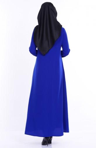بينجيسو عباءة بتصميم سحاب 2098-04 لون أزرق 2098-04