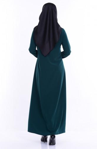 Abaya a Fermeture 2098-06 Vert emeraude 2098-06