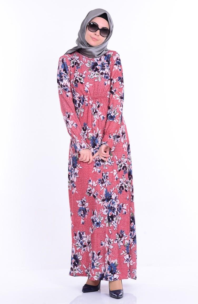 00cc2cd892680 Çiçek Desenli Elbise 2058-02 Bordo