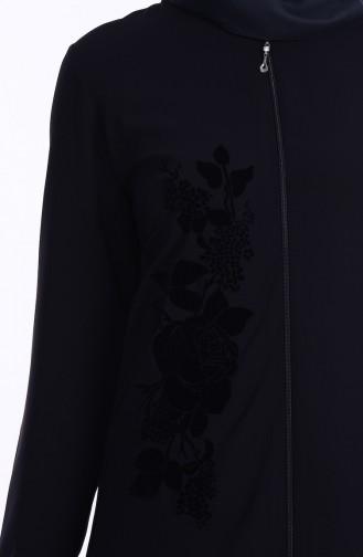 Abaya İmprimée 1501-01 Noir 1501-01