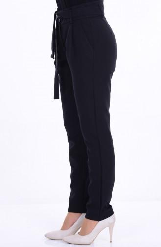 Cepli Kuşaklı Pantolon 2313-08 Siyah Sefamerve
