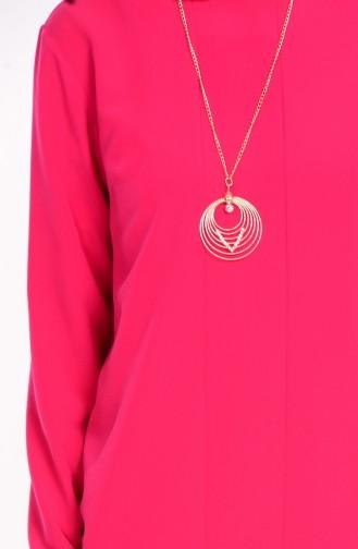 Kreppstoff Tunika mit Halskette 3002-01 Granatapfel Blumen 3002-01