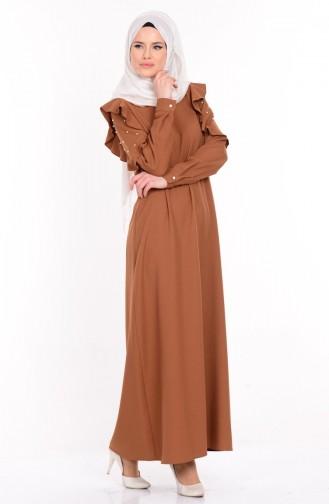 İncili Elbise 3002-03 Hardal Sefamerve