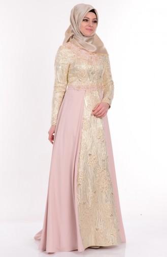 Creme Hijab-Abendkleider 9446-02