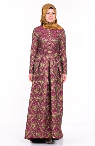 Güpürlü Jakarlı Abiye Elbise 9449A-04 Bordo Sefamerve