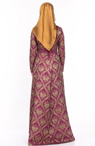 Robe de Soirée Jacquard 9449A-04 Bordeaux 9449A-04