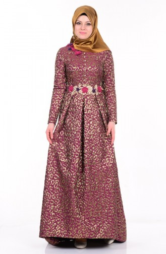 Claret red Islamic Clothing Evening Dress 9450A-04