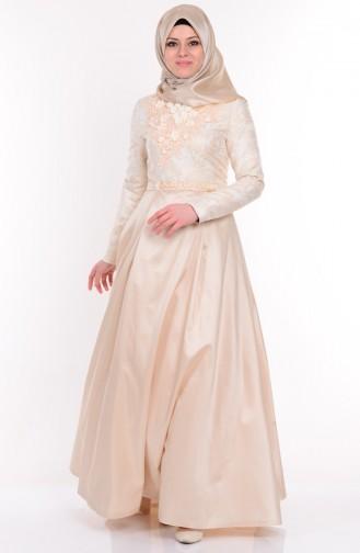 Robe de Soirée Bordée 9455-01 Creme 9455-01