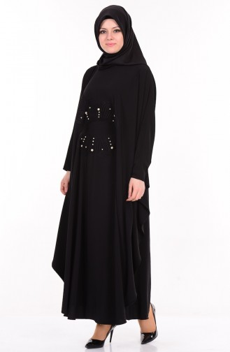 İnci Aplikeli Elbise 0202-01 Siyah Sefamerve