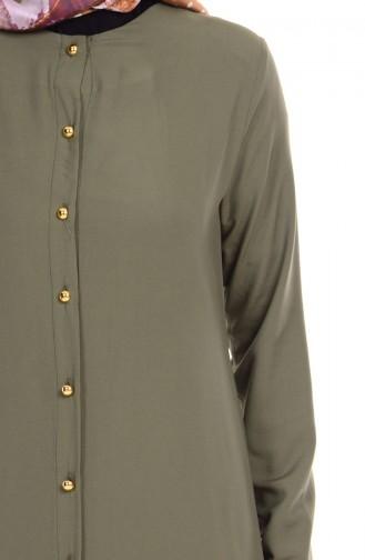 Düğmeli Tunik 2034-03 Haki Yeşil