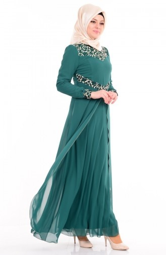 Dantelli Abiye Elbise 4107-05 Zümrüt Yeşil Sefamerve