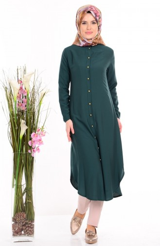 Buttoned Tunic 2034-06 Emerald Green 2034-06