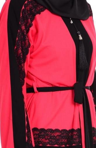 Dantel Detaylı Ferace 7711-04 Siyah Kırmızı