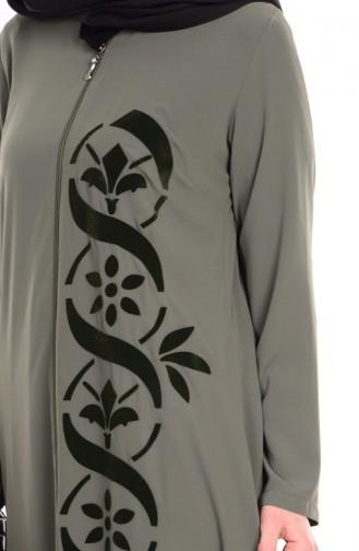 ABaya İmprimée 1503-03 Vert Khaki 1503-03