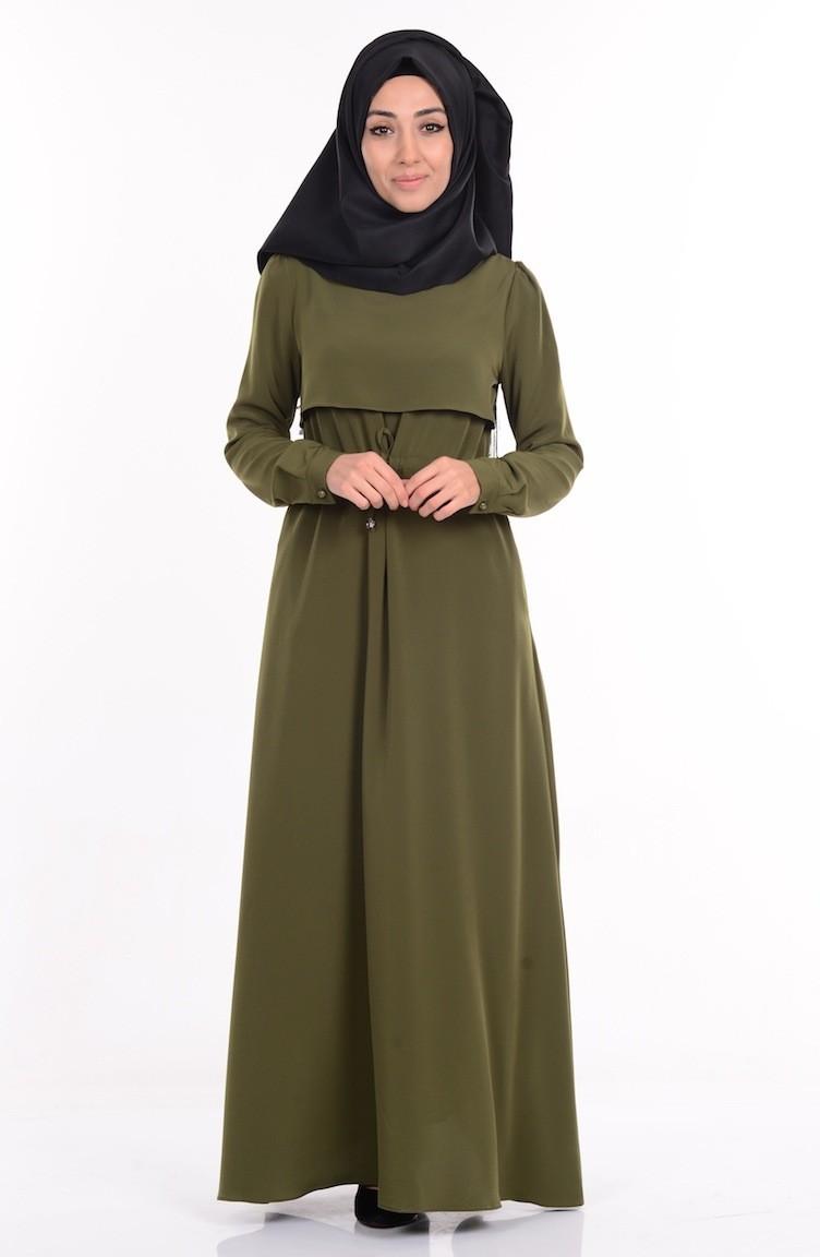 556f851fe584d Belden Büzgülü Cepli Elbise 1625-03 Haki Yeşil
