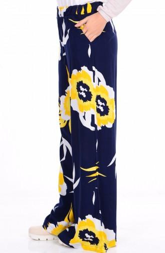 Desenli Pantolon 26151-14 Lacivert Sarı Sefamerve