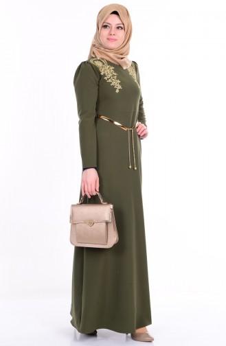 Sefamerve Nakış Detaylı Abiye Elbise 5011-01 Yeşil