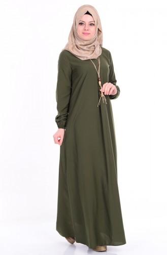 Kolyeli Elbise 4073-11 Yeşil
