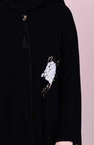 Abaya Bordée de Paillette 4101-01 Noir 4101-01