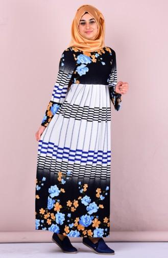 Otantik Desen Elbise 2066-02 Lacivert Mavi Sefamerve