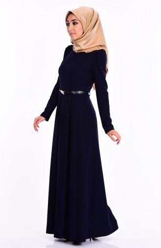 Kemerli Pileli Elbise 2643-19 Açık Lacivert Sefamerve