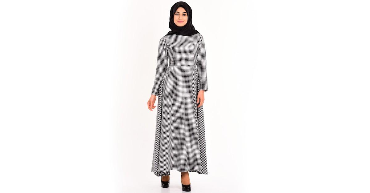 3201346fa9f24 Pötikare Elbise 4138-01 Siyah Beyaz