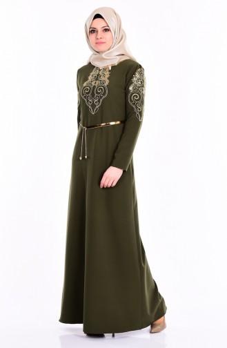 Nakış Detaylı Abiye Elbise 5014-08 Haki Yeşil Sefamerve