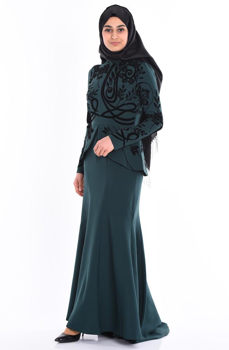 1f575fe33d087 فستان سهرة لون أخضر 1079-05