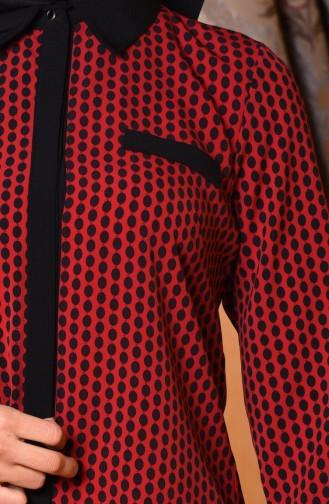 Tunique a Boutons Cachés 3029-01 Bordeaux 3029-01