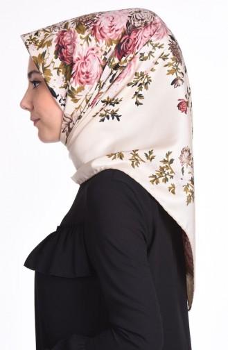 Çiçek Desenli Twill Eşarp 50116-01 Bej