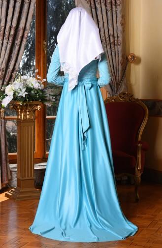 Flok Baskılı Abiye Elbise 1093-02 Mavi
