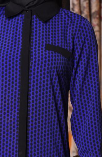 Gizli Düğmeli Tunik 3029-02 Saks