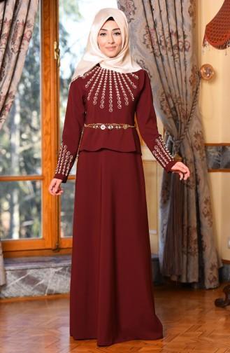 İşleme Detaylı Abiye Elbise 5018-02 Bordo Sefamerve