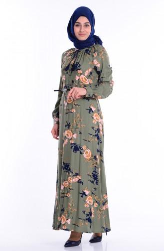 Düğmeli Kemerli Elbise 3004-03 Haki Yeşil Sefamerve