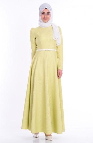 Kemerli Kloş Elbise 7082-01 Yağ Yeşil Sefamerve