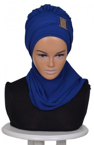 Turban Prêt Mousseline-Bleu Roi HT0011-16 0011-16