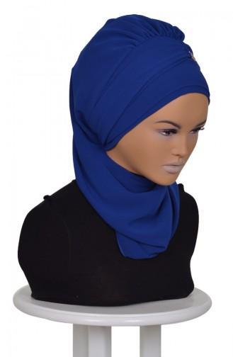 Turban Prêt Mousseline HT0028-16 Bleu Roi 0028-16