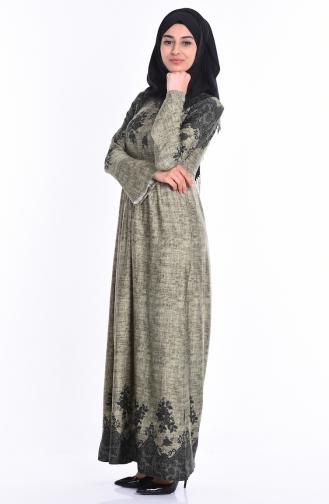 Dantel Desen Elbise 2073-03 Haki Yeşil Sefamerve