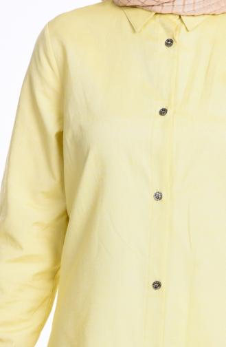 Düğmeli Tunik 2101-22 Limon